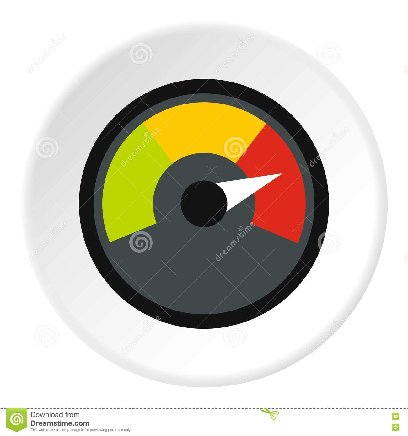 Speedometer At Maximum Speed Icon, Flat Style Stock Vector ...
