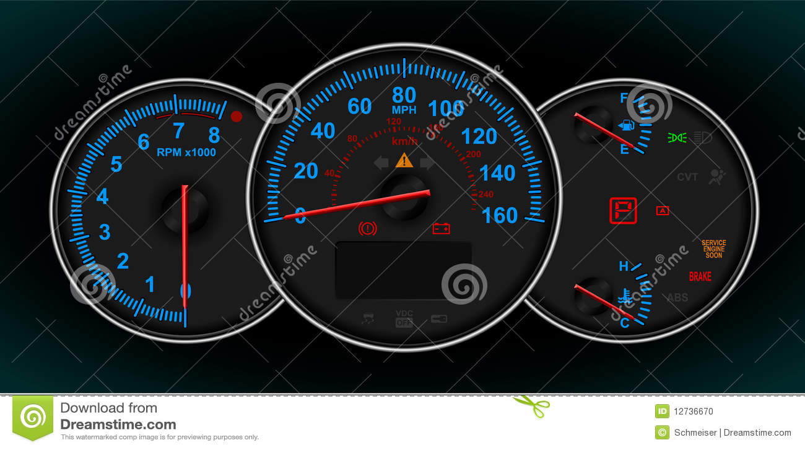 Speedometer And Rpm Gauge Cluster Stock Vector Image