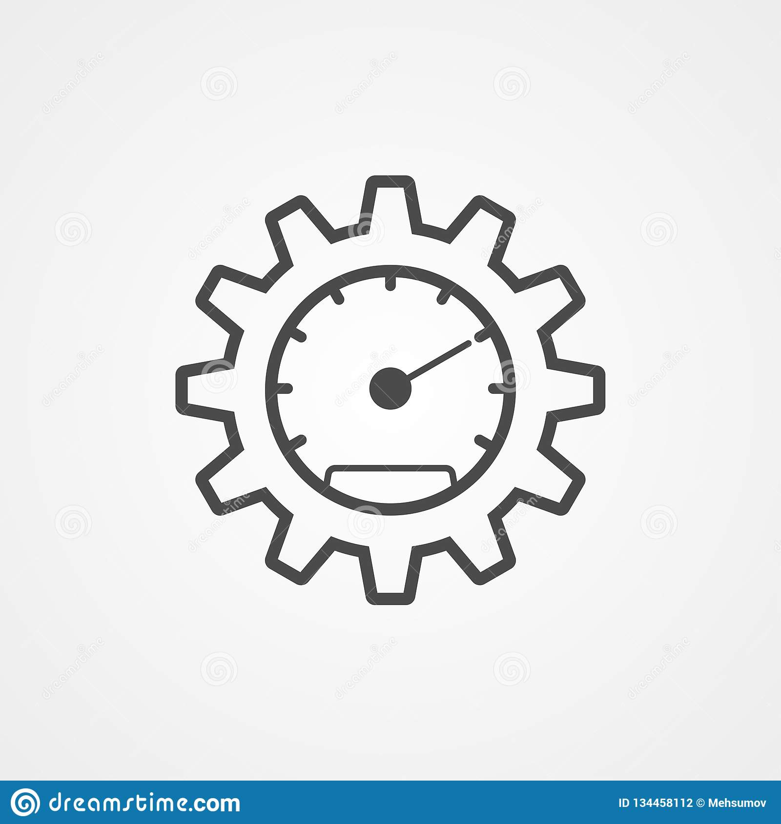 Speedometer Vector Icon Sign Symbol Stock Vector