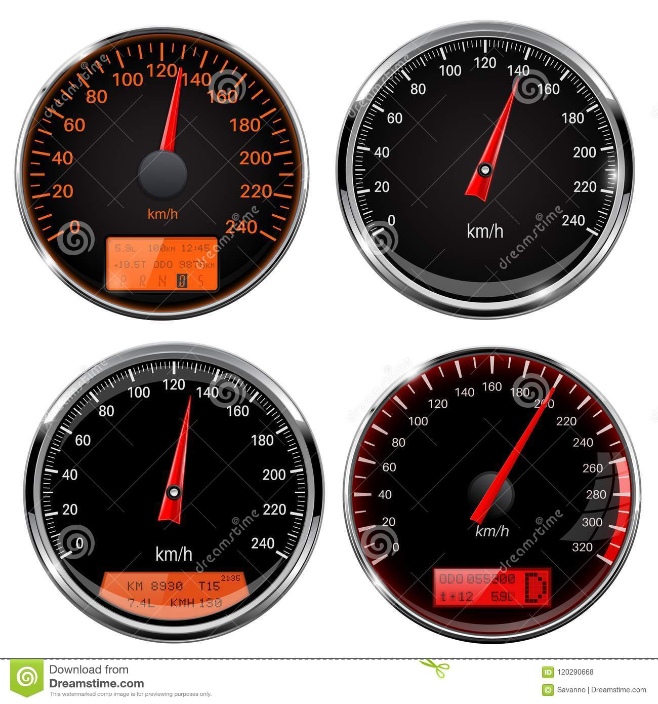 Speedometers And Tachometers Car Dashboard Black Gauges With Chrome