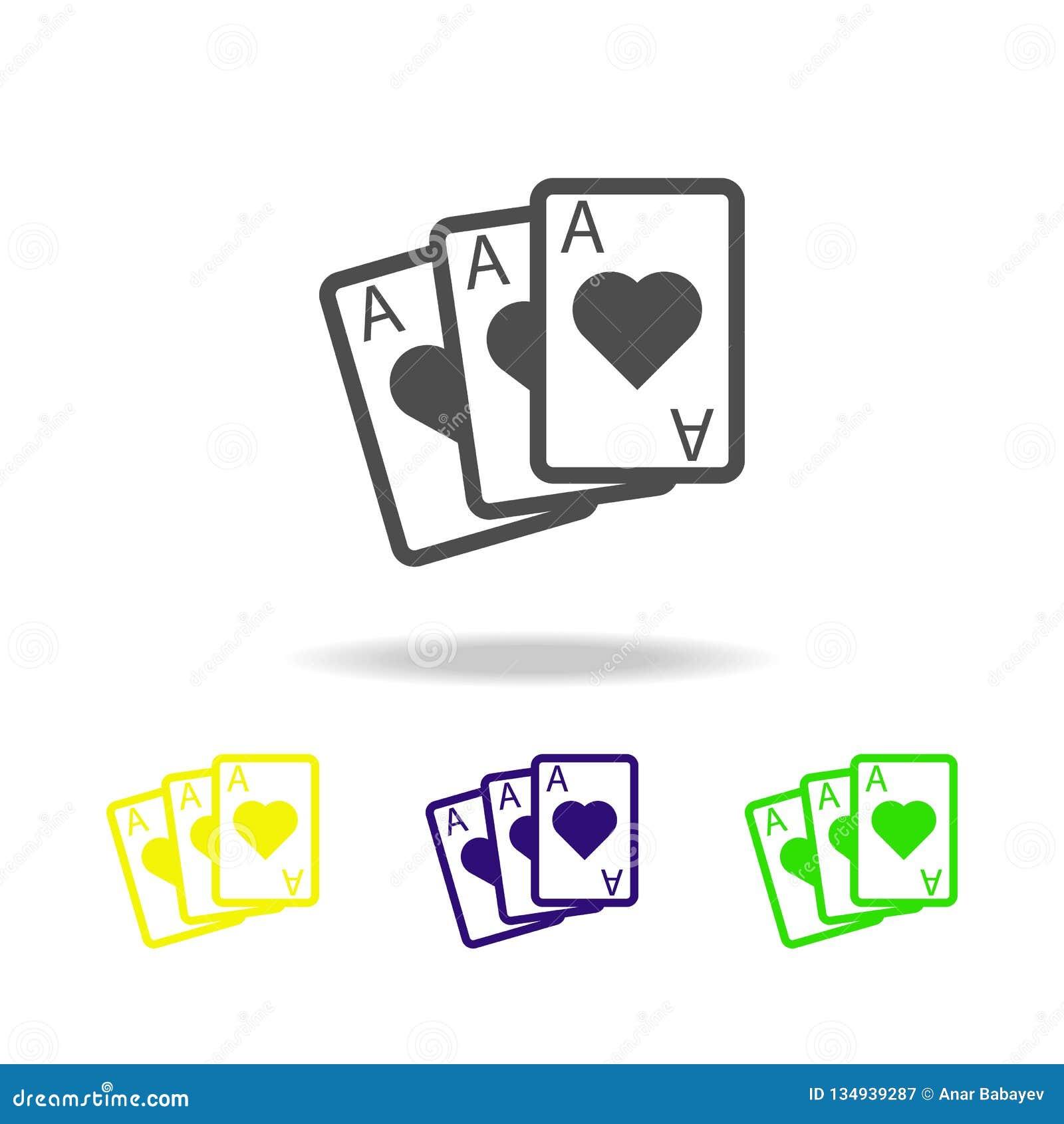 Speelkaartenazen gekleurde pictogrammen Element van casino gekleurde pictogrammen Kan voor Web, embleem, mobiele toepassing, UI,