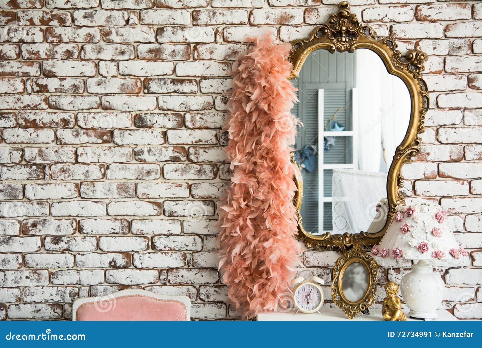 Spegel på bakgrunden och boaen för tegelstenvägg