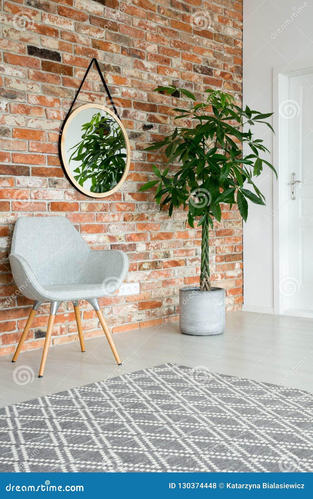 Spegel på väggen av korridoren med den högväxta växten i kruka, grå stilfull stol och tegelstenvägg