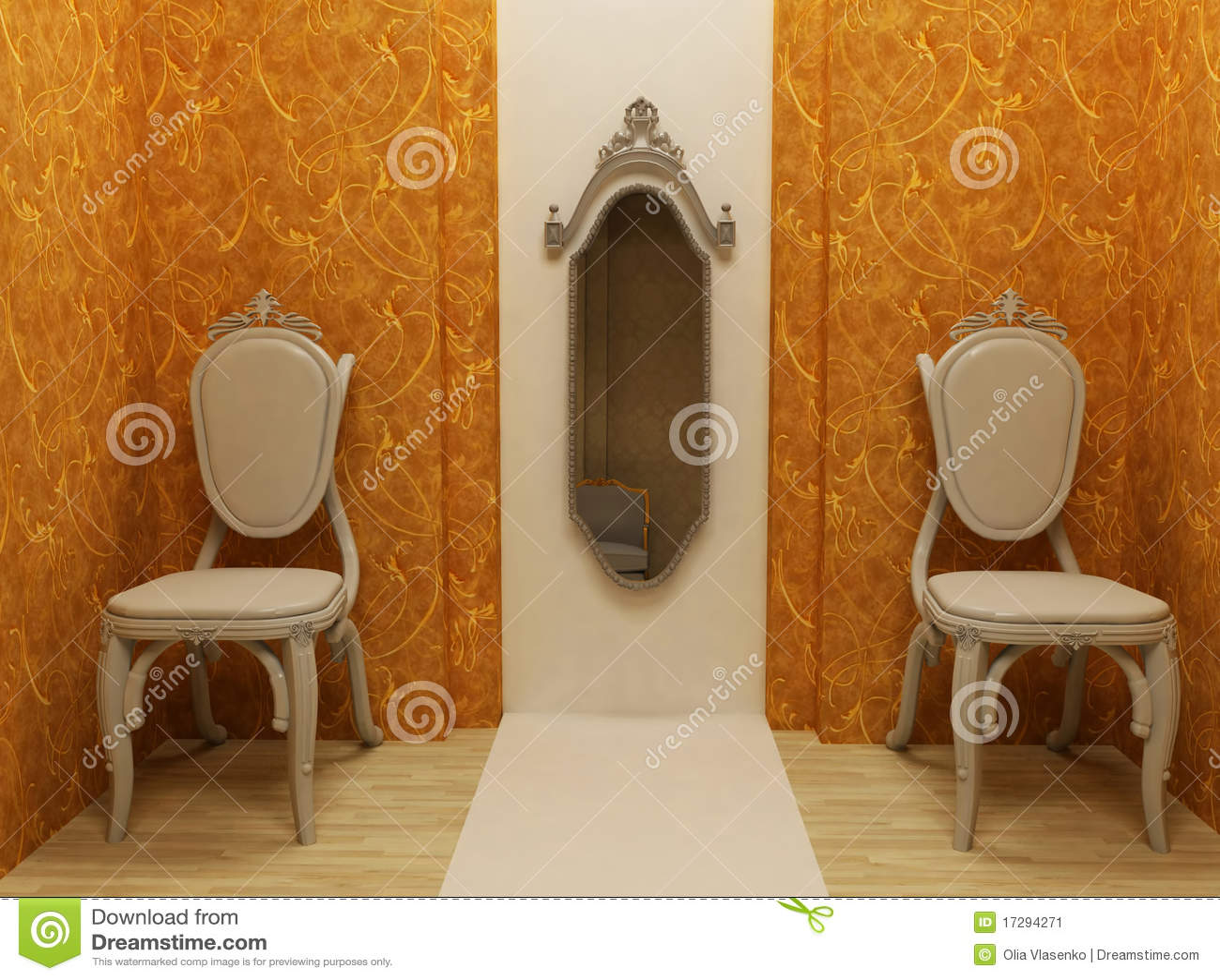 Spegel två för klassisk design för fåtöljer inre fotografering för ...