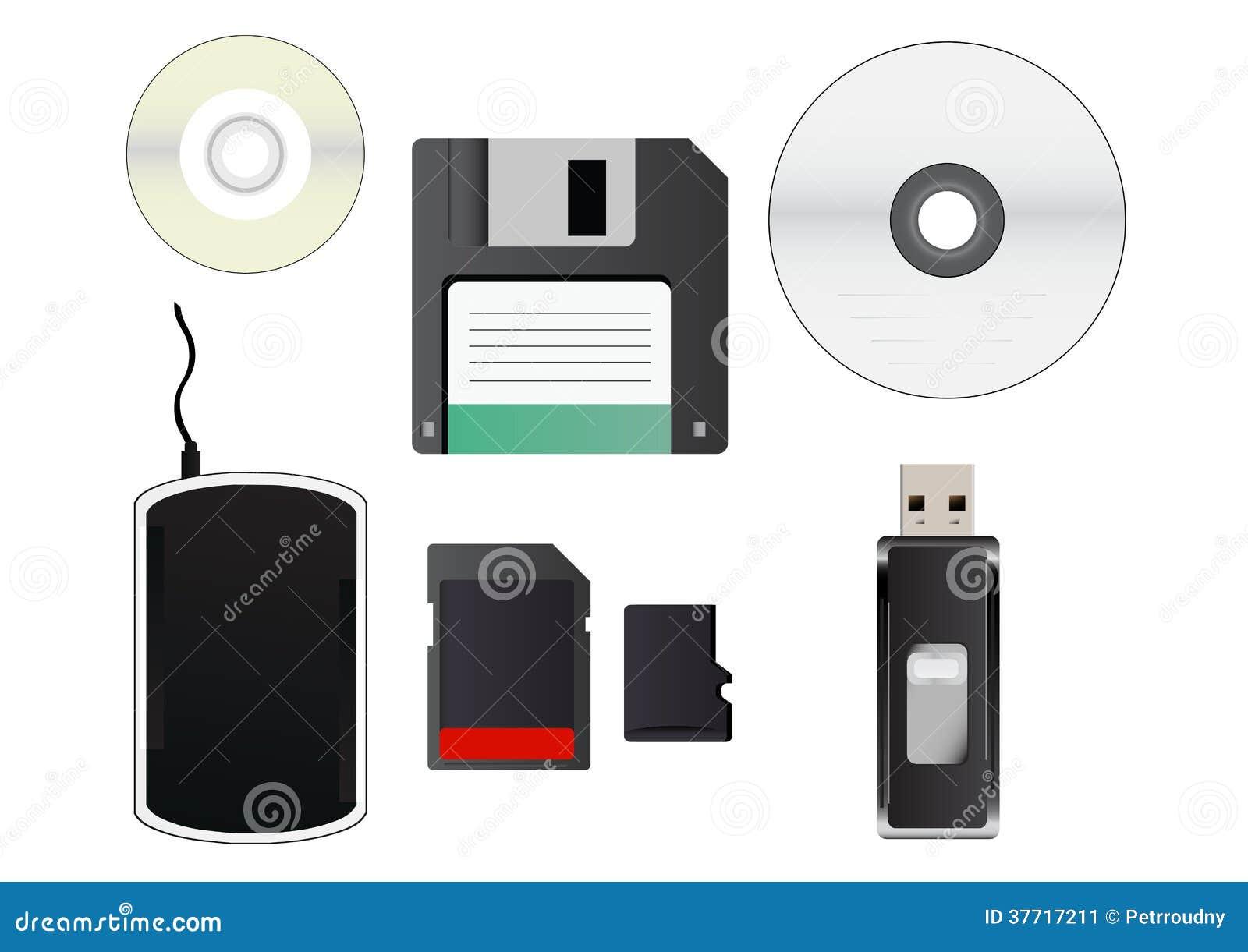 Vektor cliparts von Speichermedien. im Satz ist CD, kleine CD
