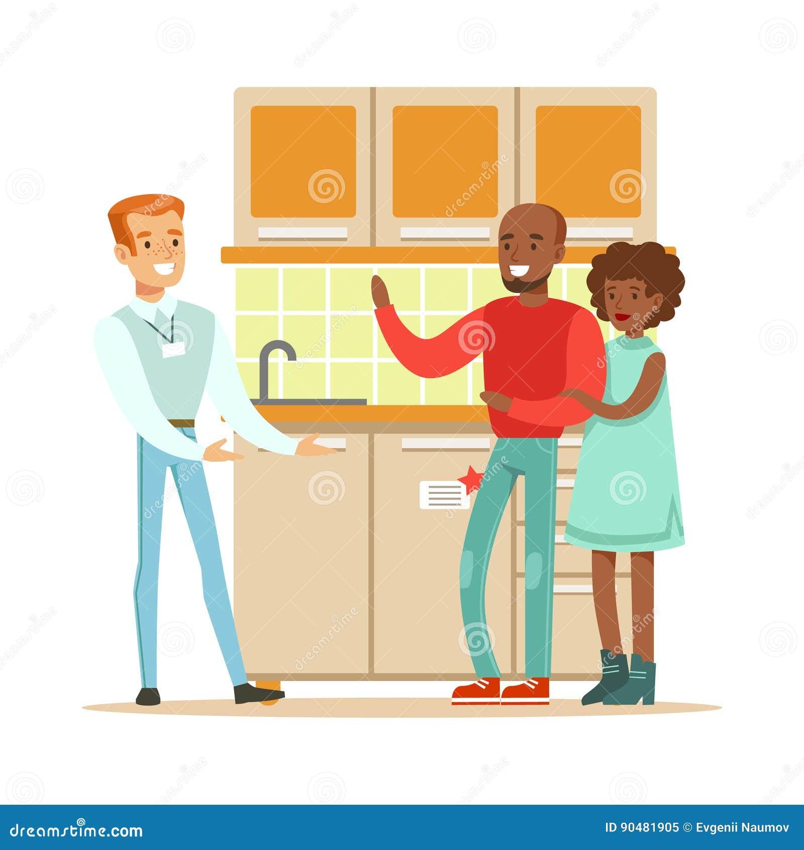 Speichern Sie Den Verkäufer, Der Die Küche Verkauft, Die Eingestellt ...