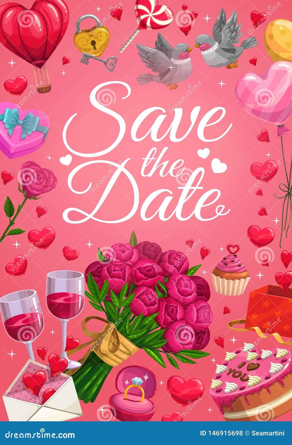 Speichern Sie die Datums-, Ehering- und Herzballone