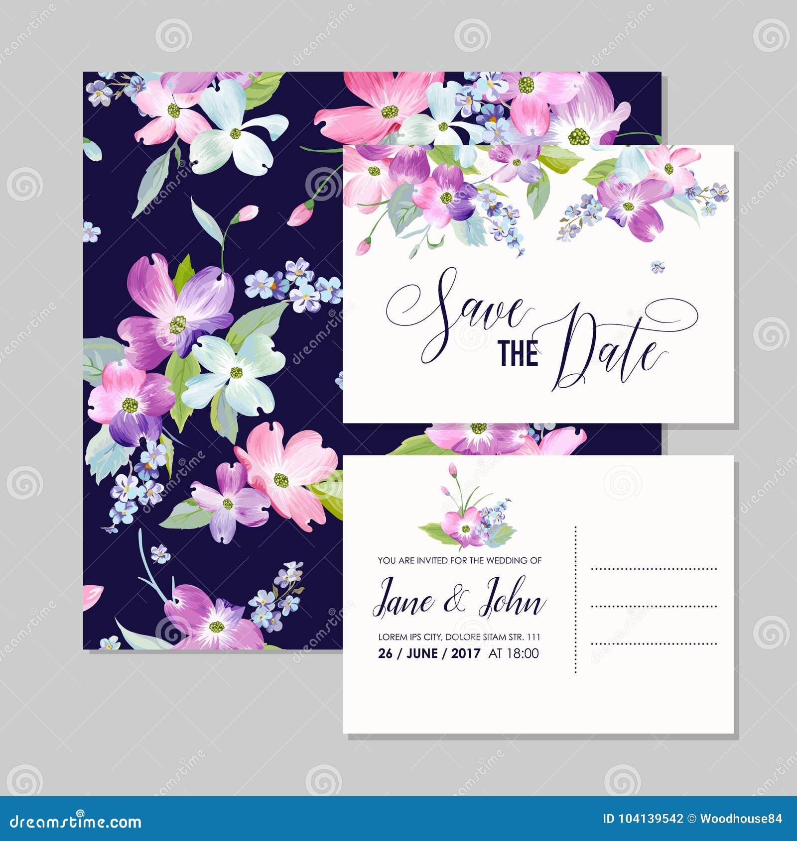 Speichern Sie Die Datums-Hochzeits-Einladungs-Schablone Mit ...