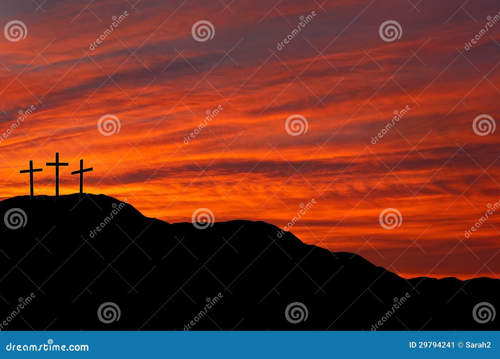 Wielkanocny niebo z krzyżami - wschód słońca, zmierzch