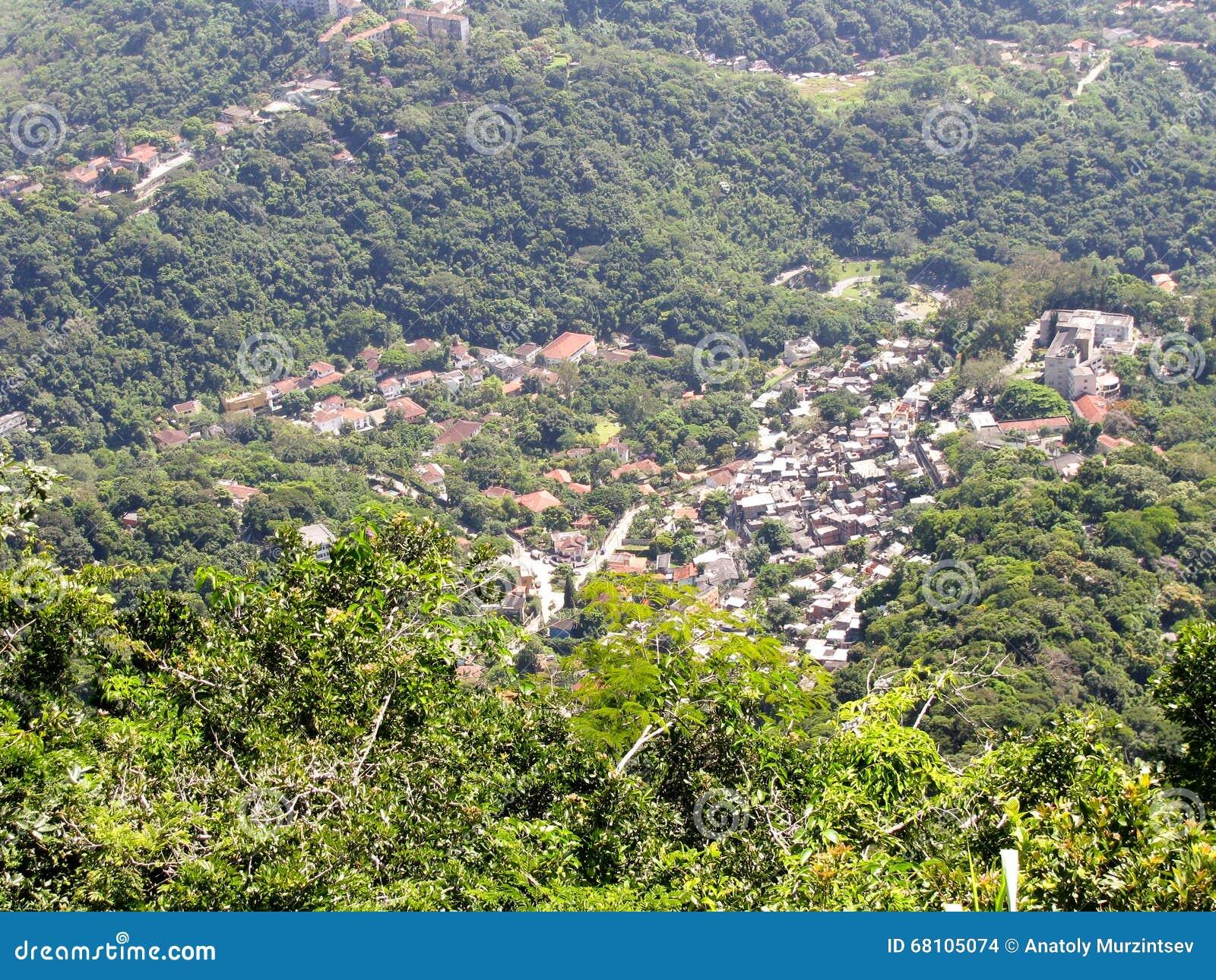 Spektakularny panoramy i anteny miasta widok Rio De Janeiro, Brazylia