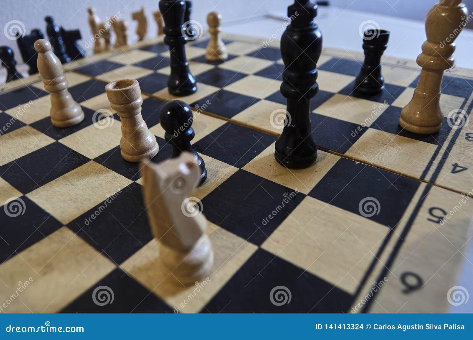 Spel van schaak, witte koning in probleem, paard in probleem, schaakmat in één beweging