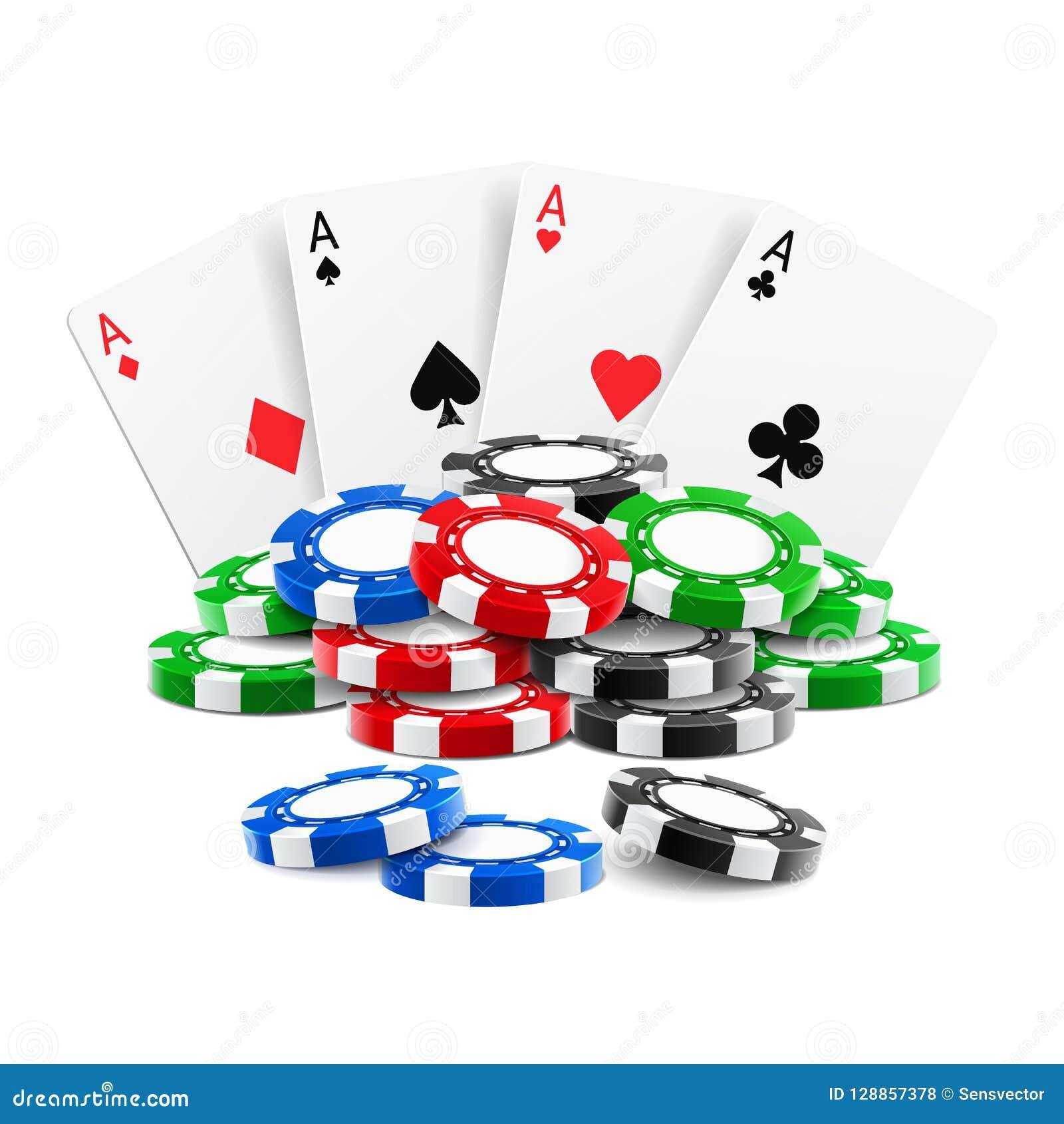 Spela för kort bunten nära av kasinot 3d gå i flisor
