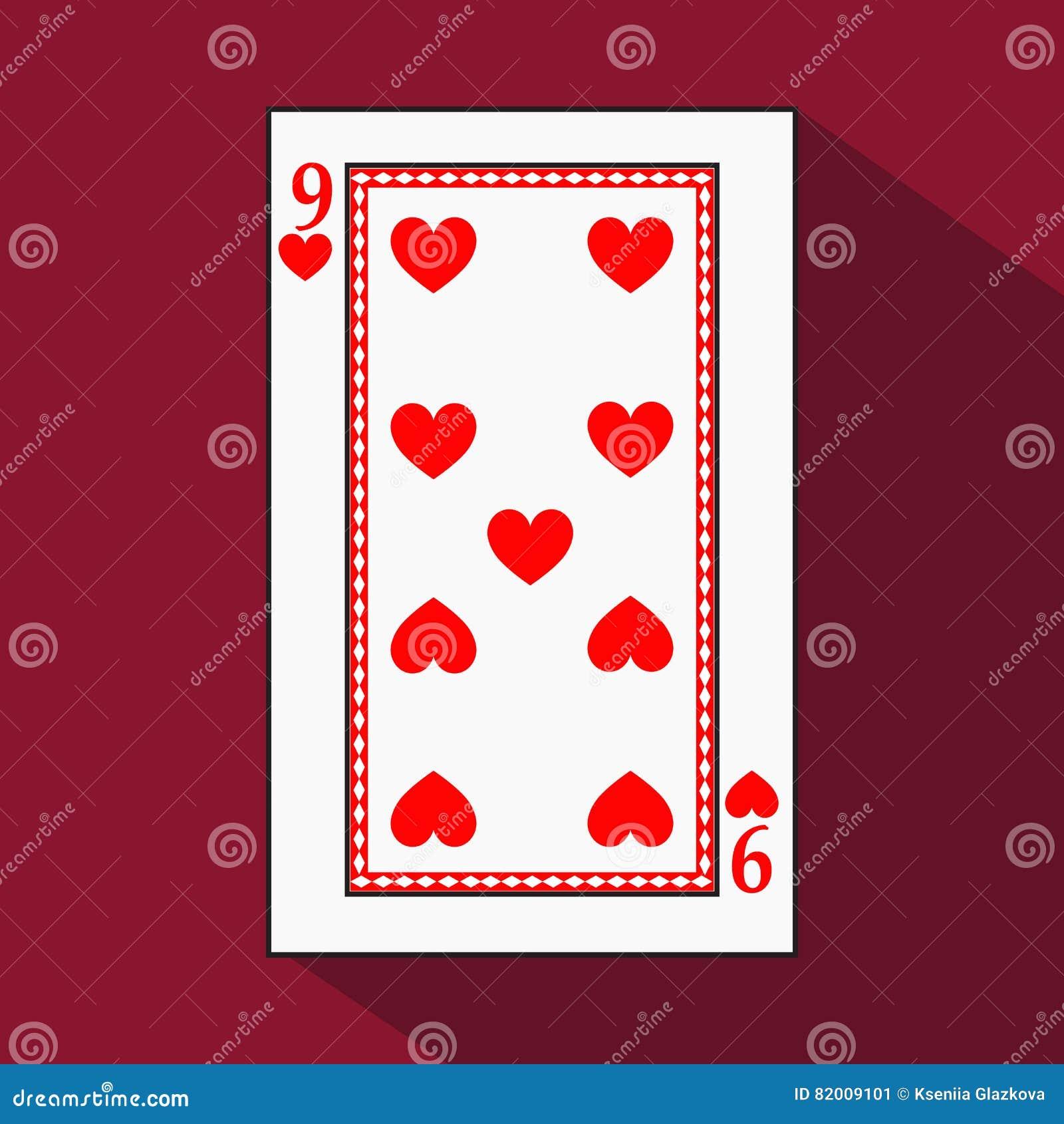 Spela kortet symbolsbilden är lätt HJÄRTA NIO 9 med vit en bassubstrate Illustration på röd bakgrund applicat