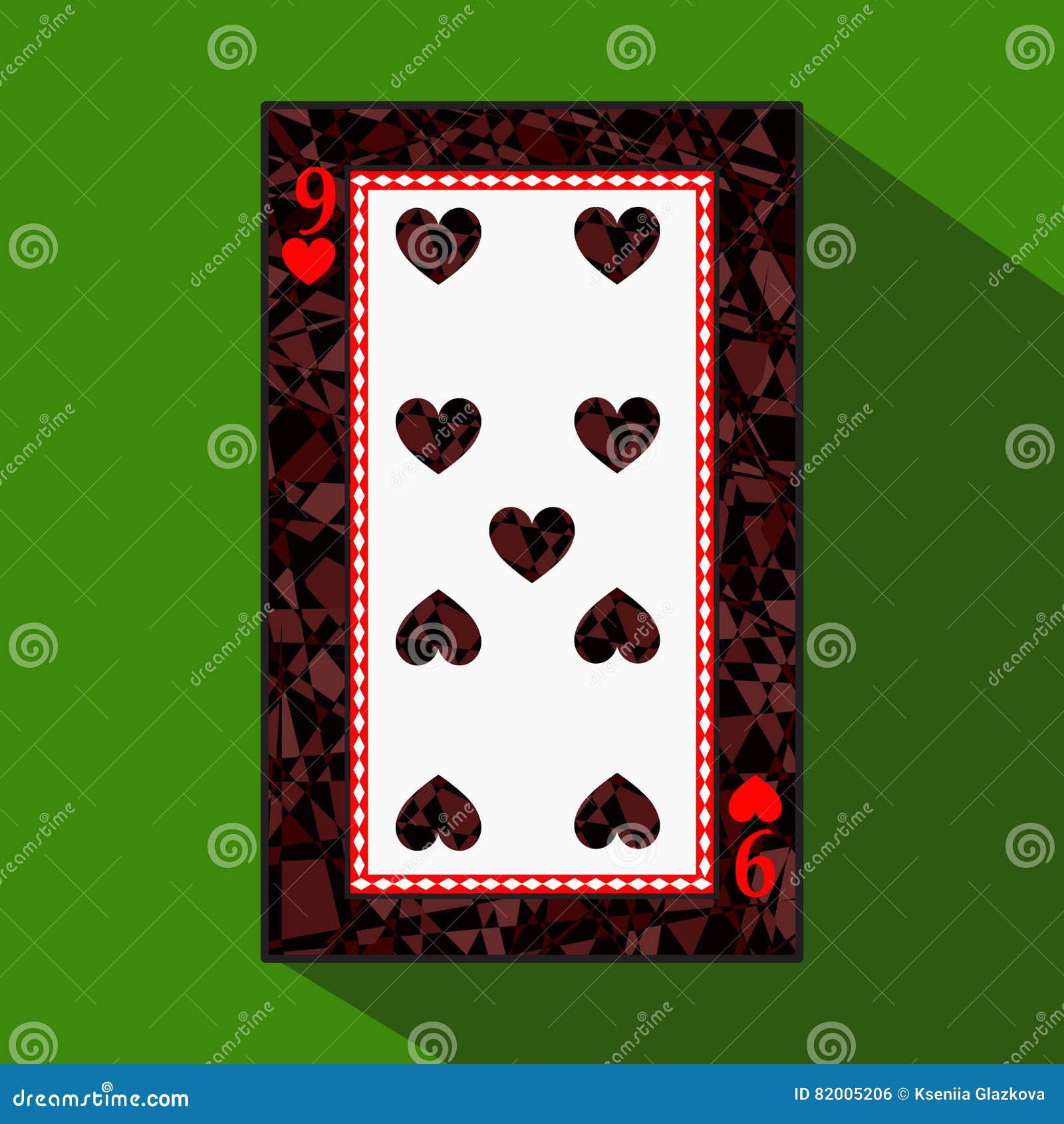 Spela kortet symbolsbilden är lätt HJÄRTA NIO 9 om mörk regiongräns en illustration på grön bakgrund applic