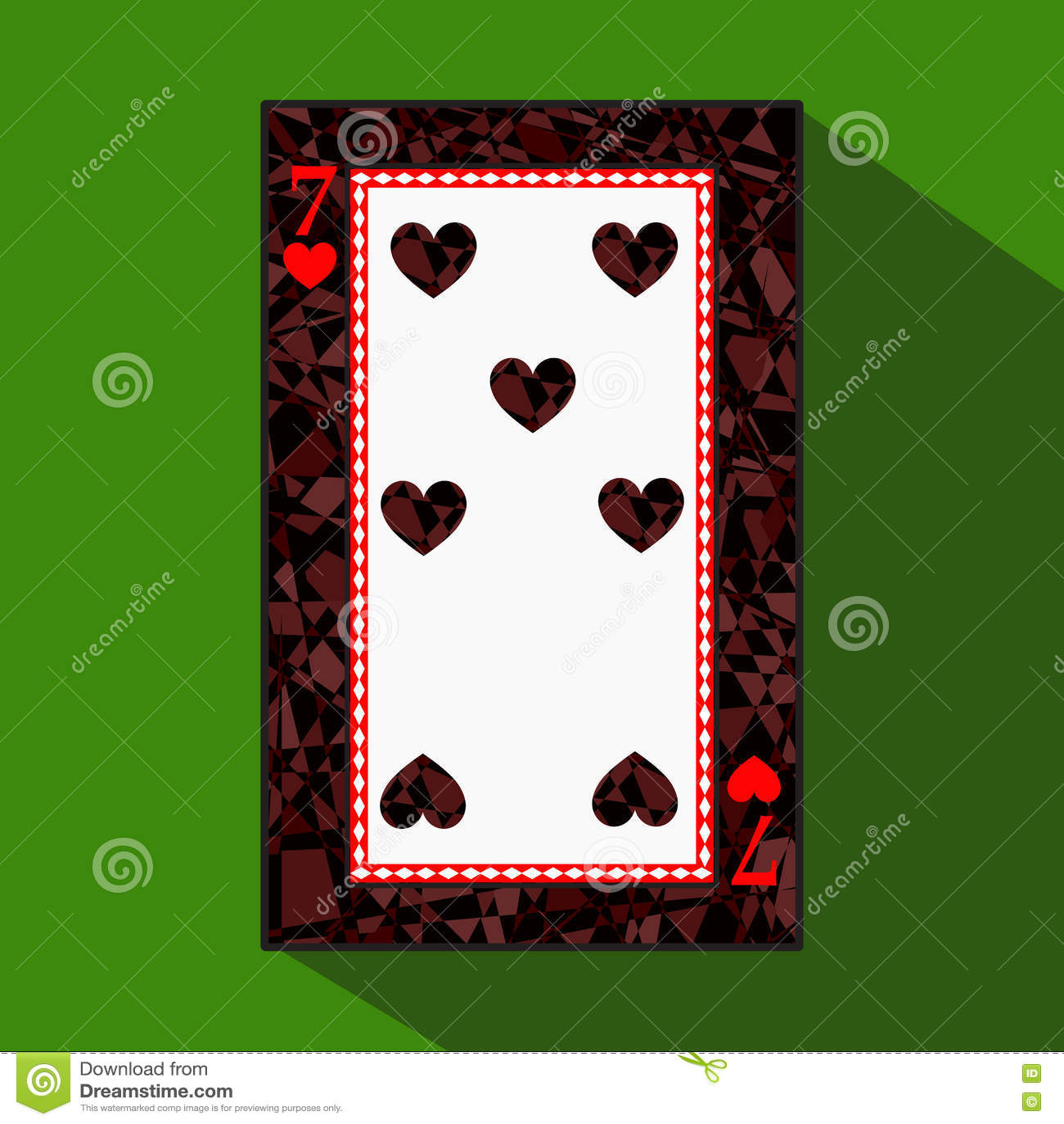 Spela kortet symbolsbilden är lätt HJÄRTA SJU 7 om mörk regiongräns en illustration på grön bakgrund appli