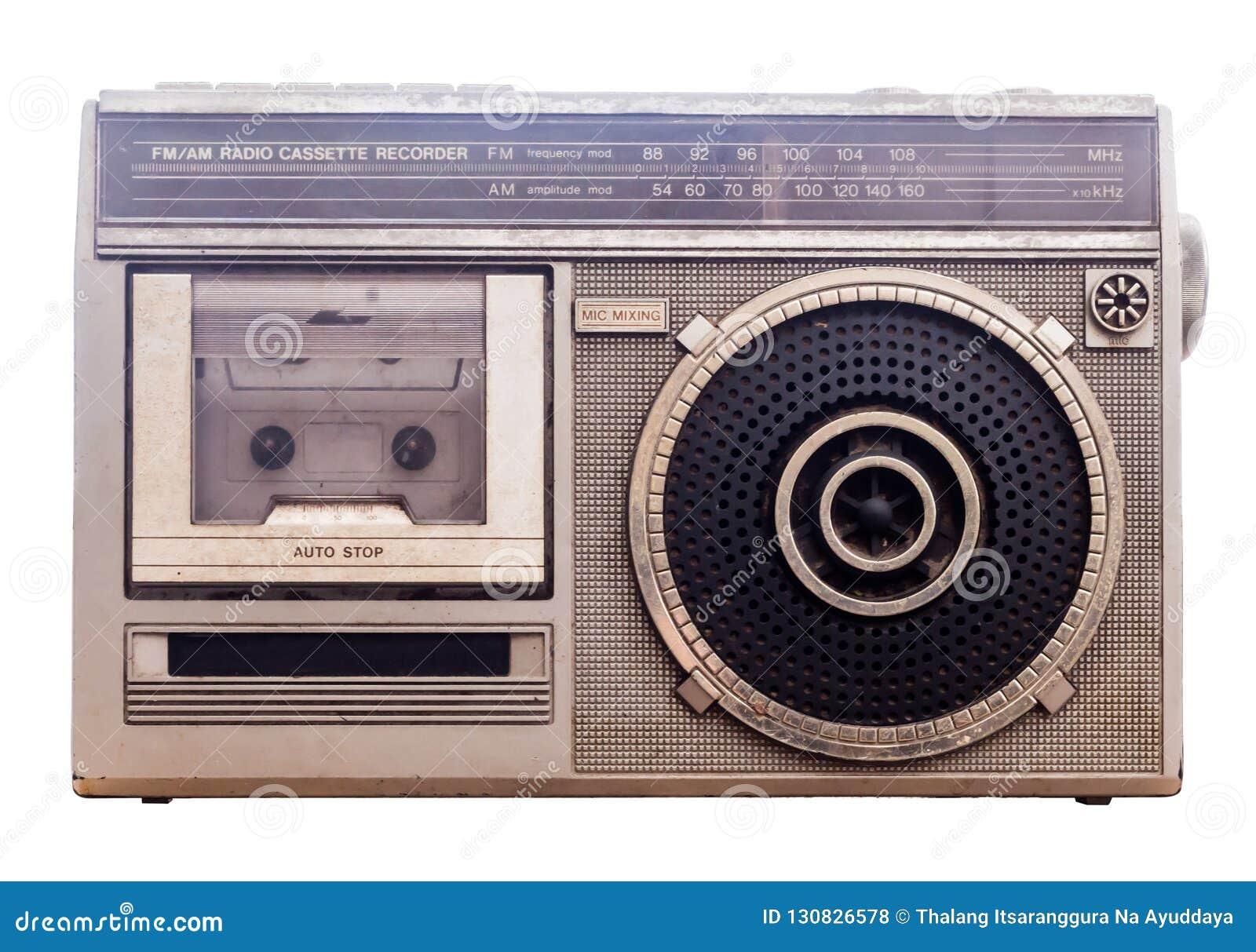 Spelare för bärbar musik för 80-talradioband Vit bakgrund med Clipp