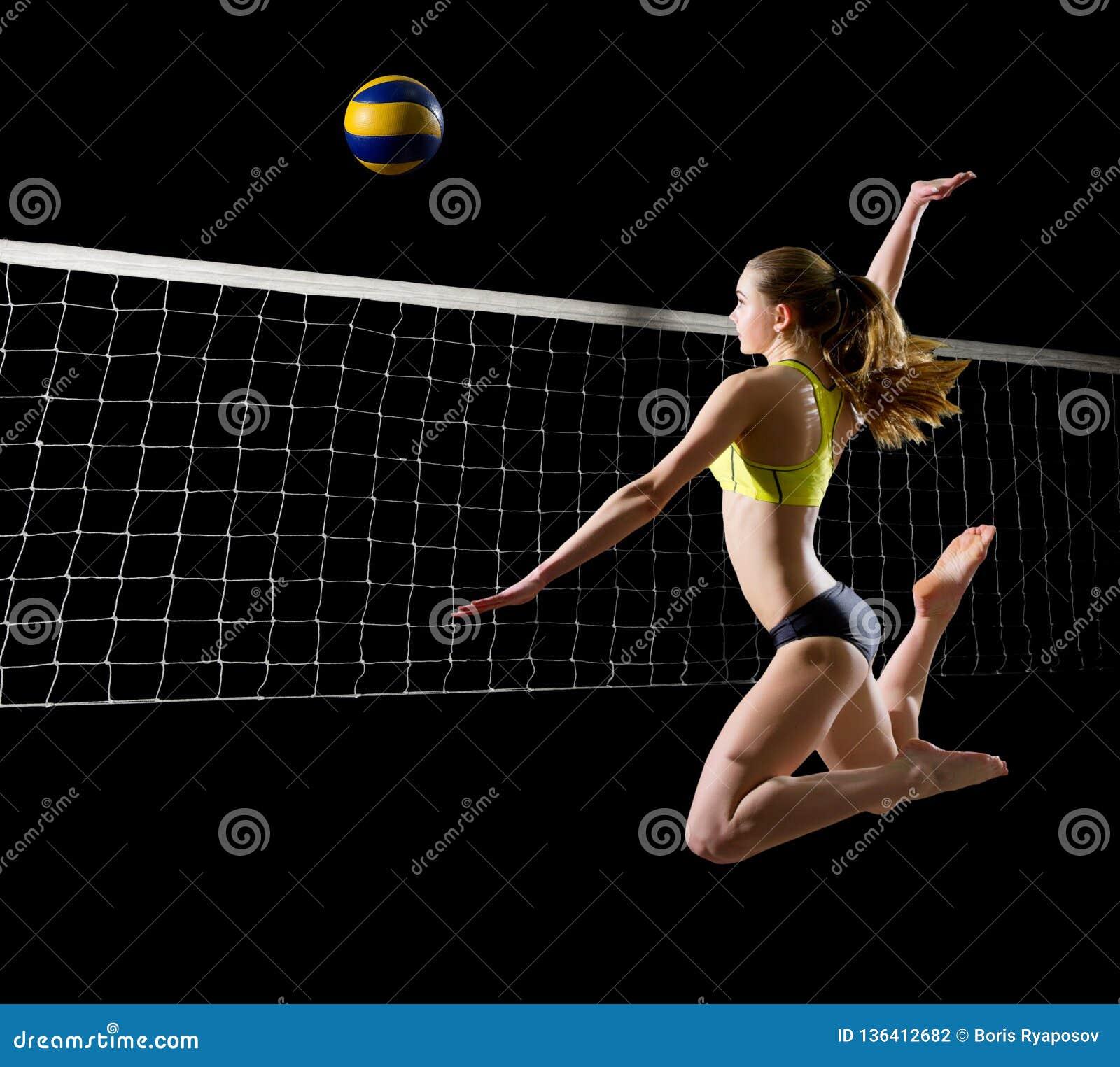 Spelare för kvinnastrandvolleyboll med netto och bollversion