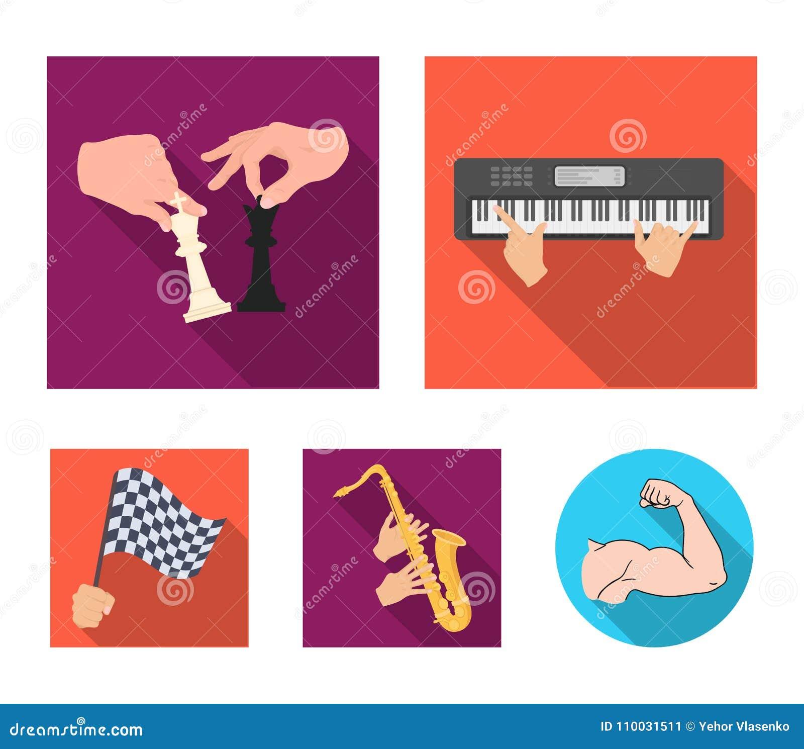 Spelend op een elektrisch muzikaal instrument, manipulatie met schaakstukken en ander Webpictogram in vlakke stijl het spelen op