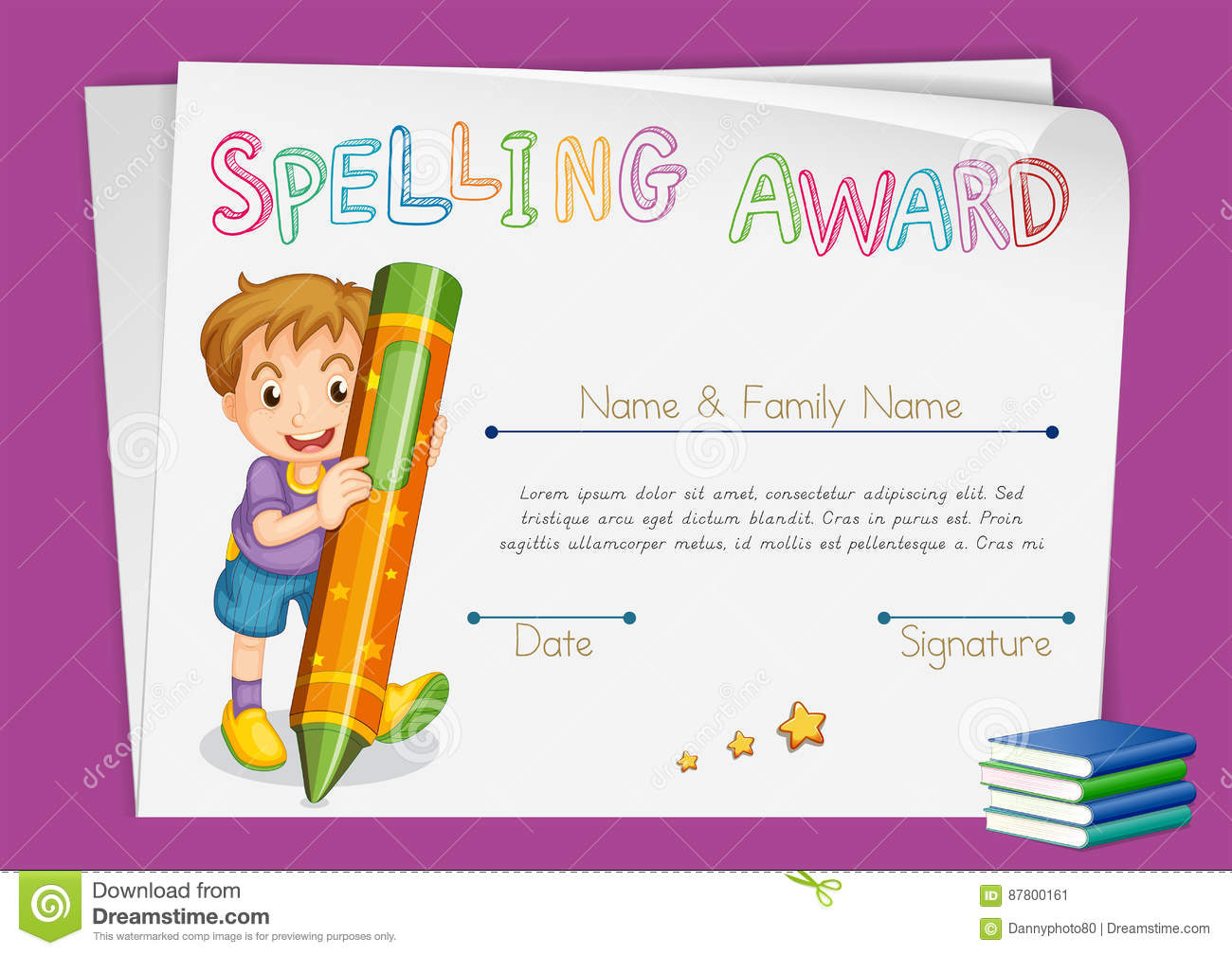 Spelling Award Certificate Template With Kids And Crayon