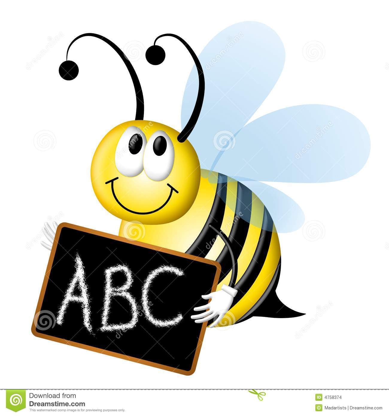An illustration featuring a bumblebee spelling bee with chalkboard and ...