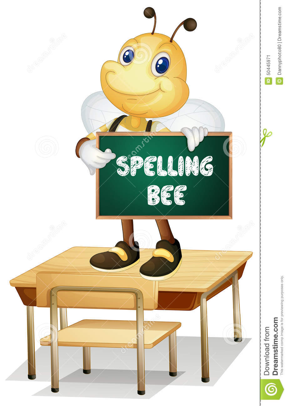 Illustration of a bee holding a spelling bee sign.