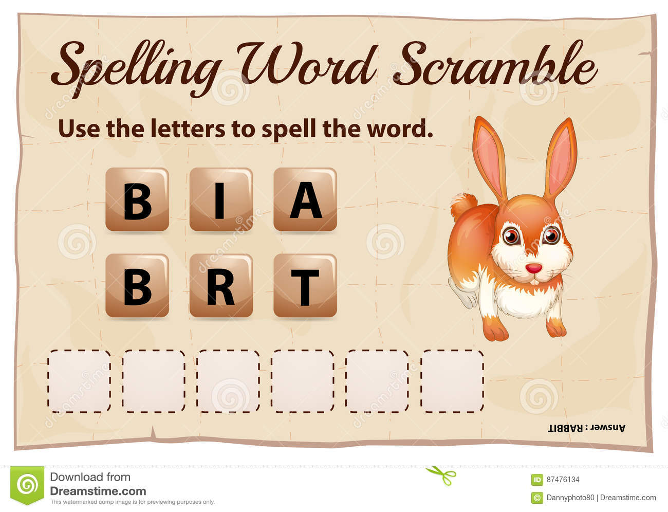 Spelling scramble game template for rabbit