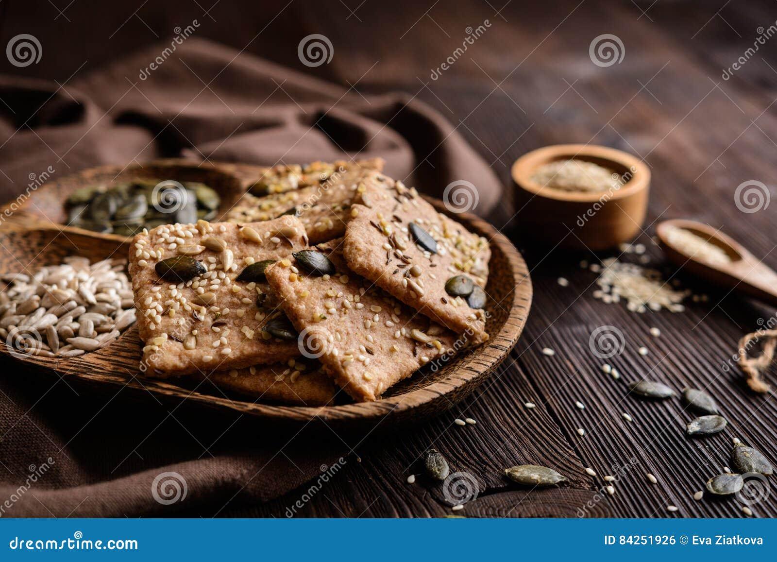 Spelt flour crackers with pumpkin, sunflower, sesame, flax and hemp seeds