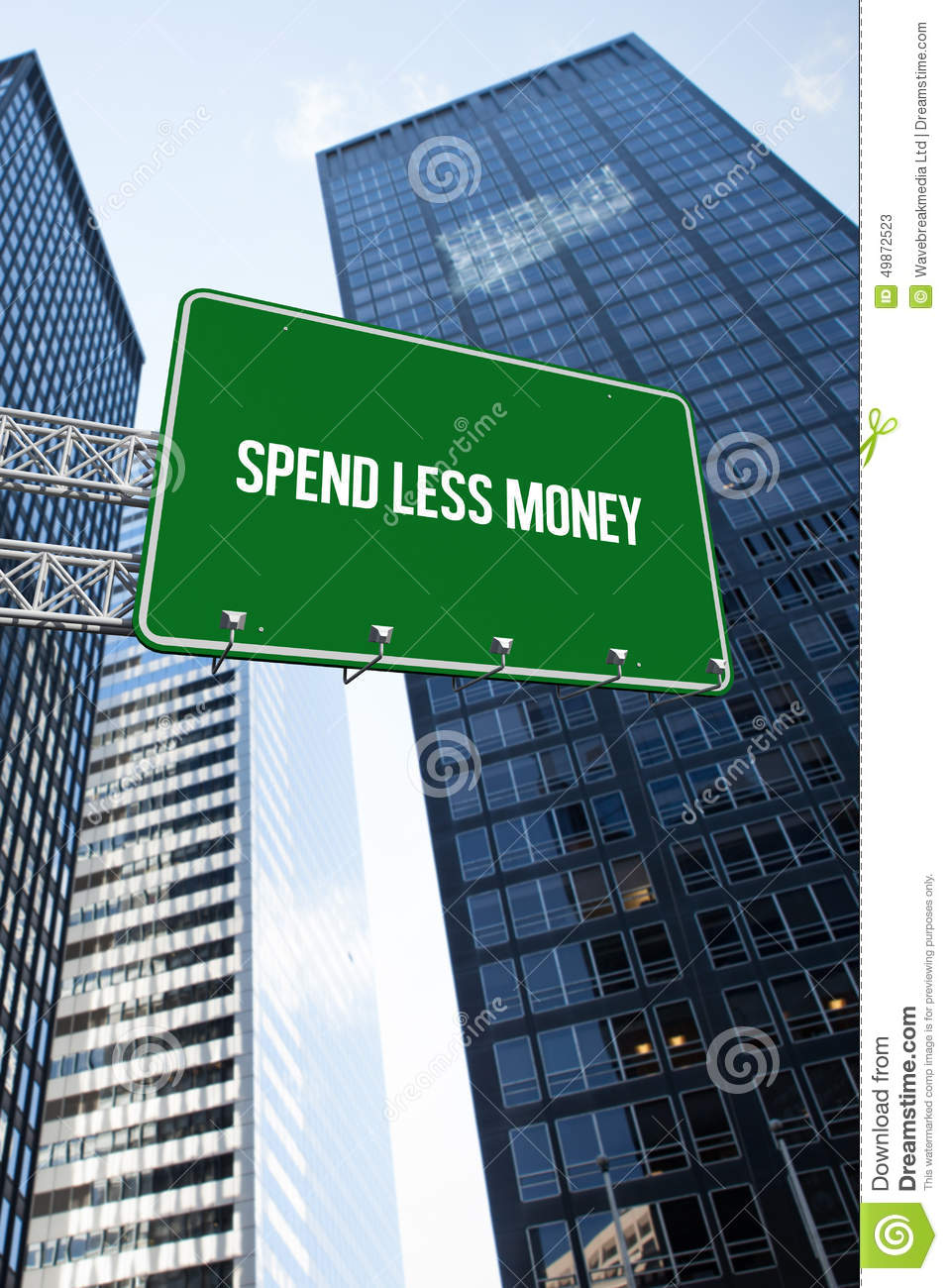 Spend Less Money Against Low Angle View Of Skyscrapers