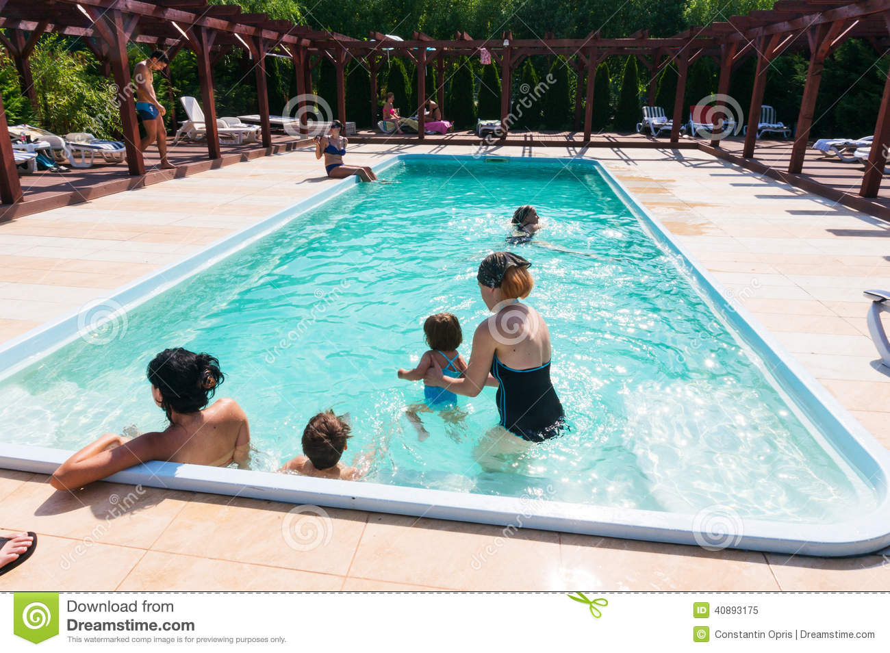Spending Time In Swimming Pool Editorial Image Image 40893175