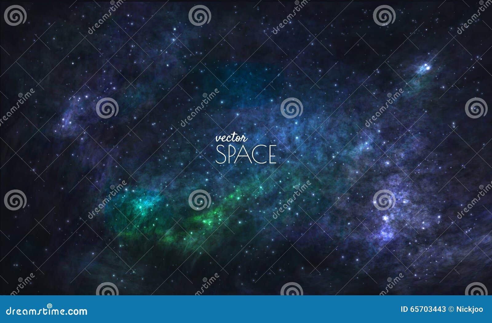 Sperren Sie Galaxie-Hintergrund mit Nebelfleck, stardust und hellen glänzenden Sternen Vektorillustration für Ihr Design, Grafike
