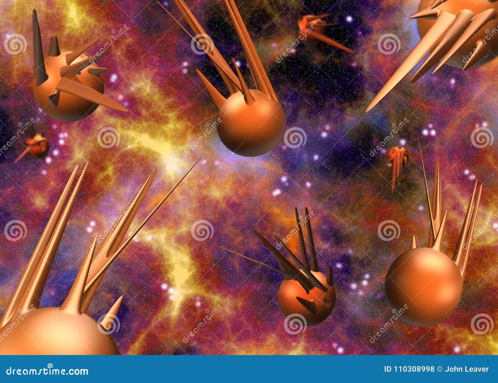 Sperren Sie Szene mit Illustration der Planeten 3D/der Raumschiffe