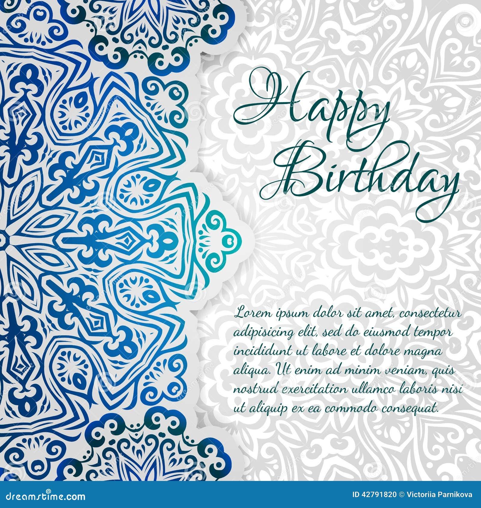 Spets- etnisk mall för kort för lycklig födelsedag för vektor Romantisk tappninginbjudan Blom- prydnad för abstrakt grungecirkel