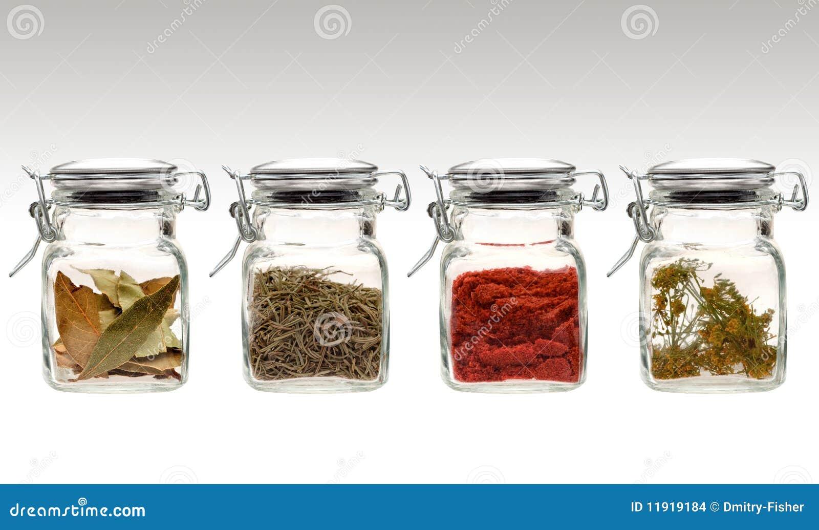 Spezie in vasi di vetro liberi fotografia stock immagine for Vasi ermetici vetro