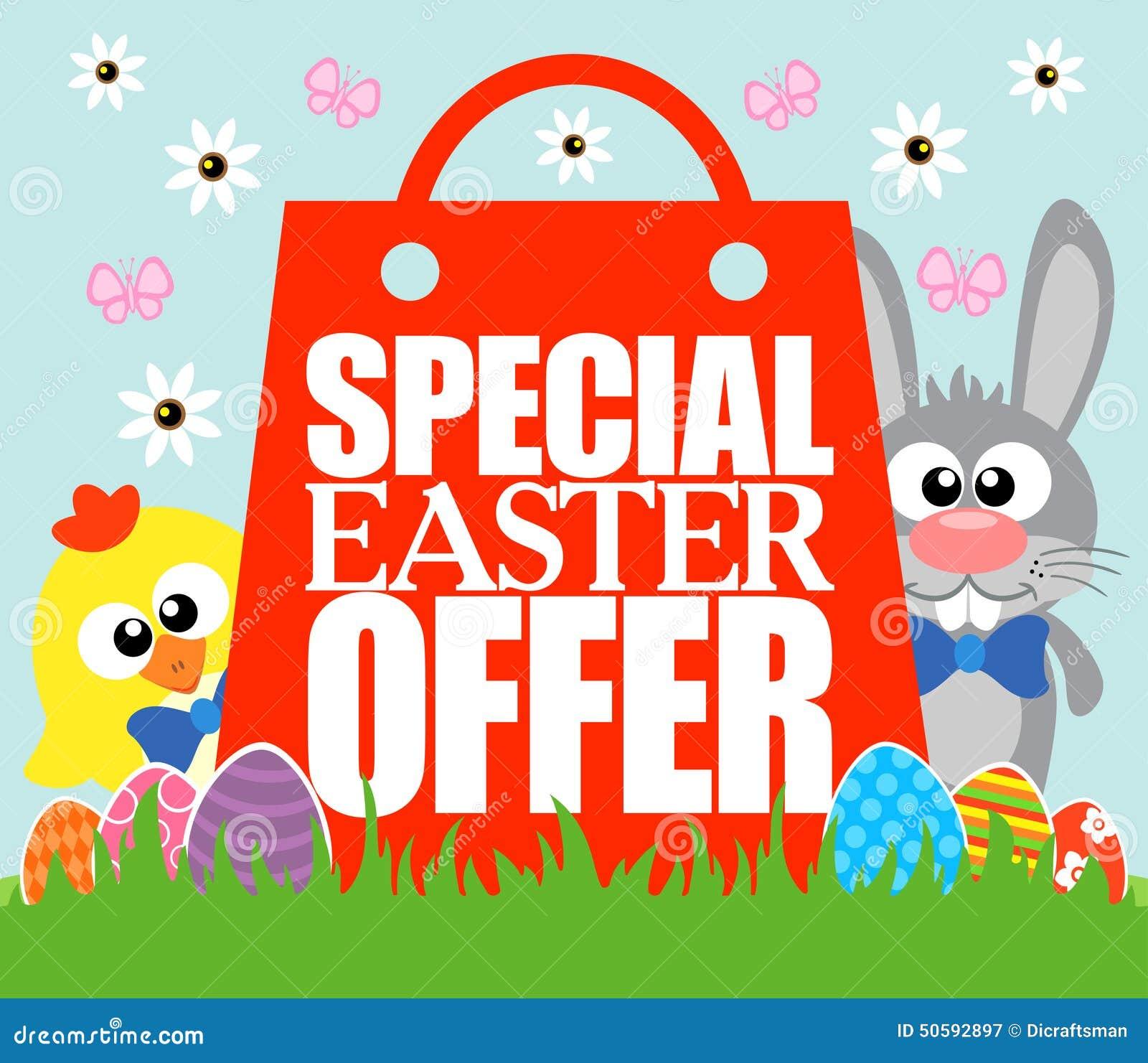 Spezielles Ostern-Angebot, Lustiges Kaninchen Und Huhn Vektor ...