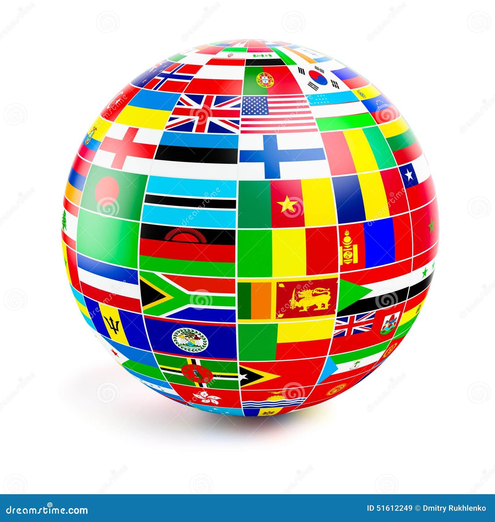 Sph re du globe 3d avec des drapeaux du monde sur le blanc - Globe maison du monde ...