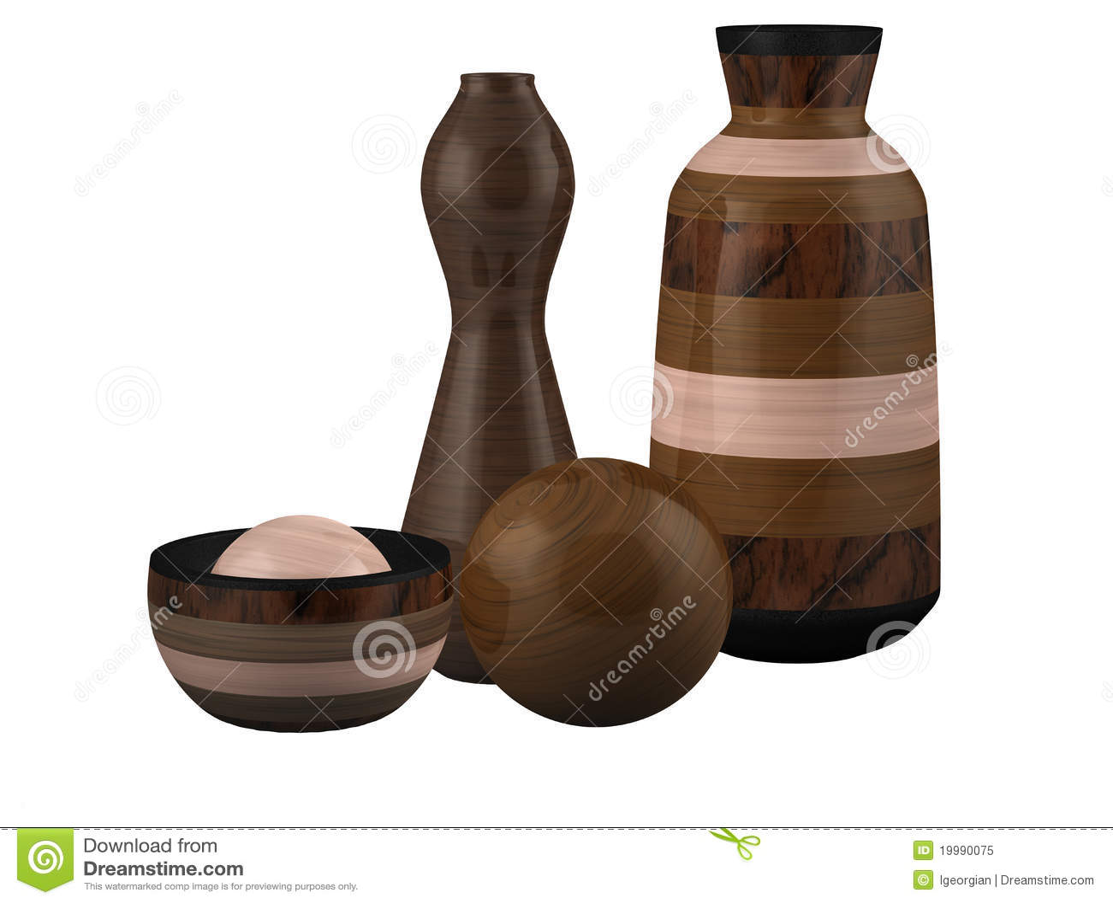 Sphère en bois de cuvette de vase à composition