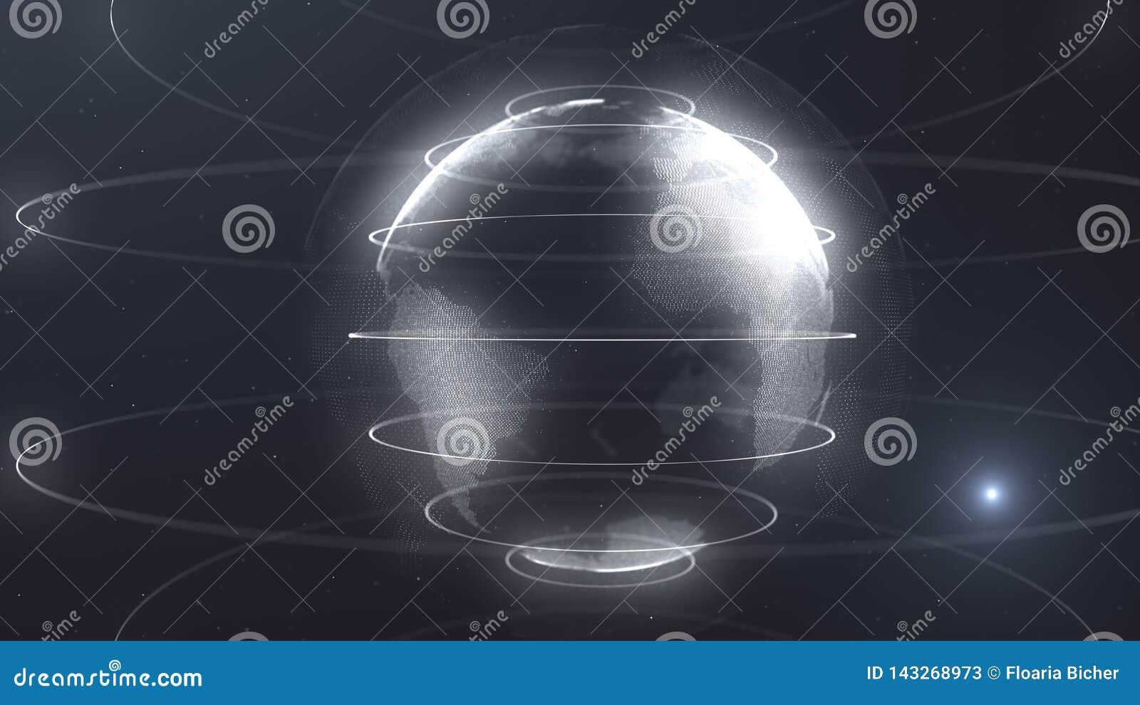 Sphère futuriste des points Interface de mondialisation Sens des graphiques abstraits de la science et technologie rendu 3d
