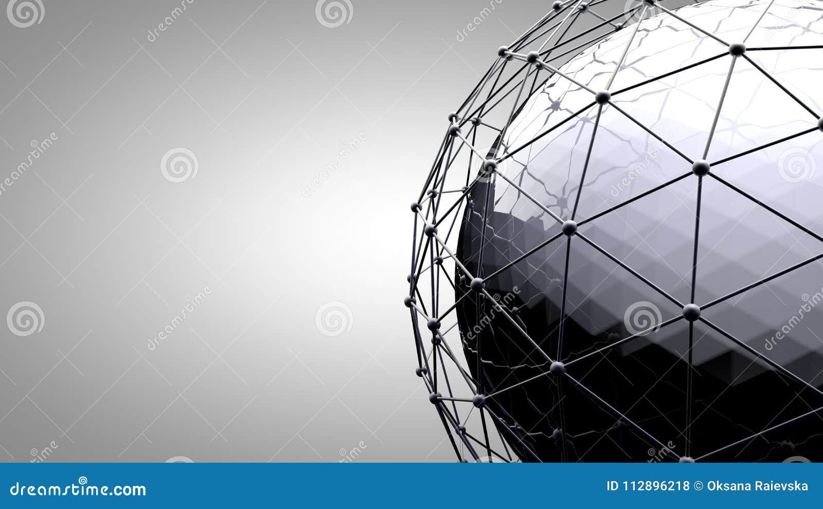 Sphère se reliante de Wireframe Lignes de connexion autour de globe de la terre Le concept du réseau social, connexion de globe
