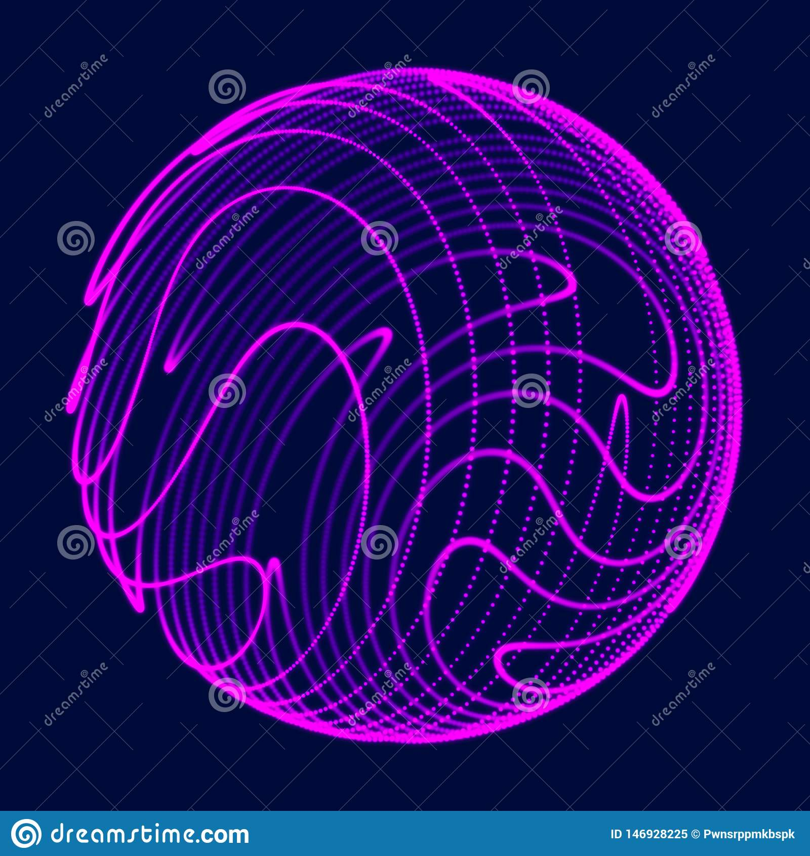 Sph?re 3d abstraite E Lignes rougeoyantes tordant la conception de logo Objet d espace extra-atmosph?rique Style futuriste de tec