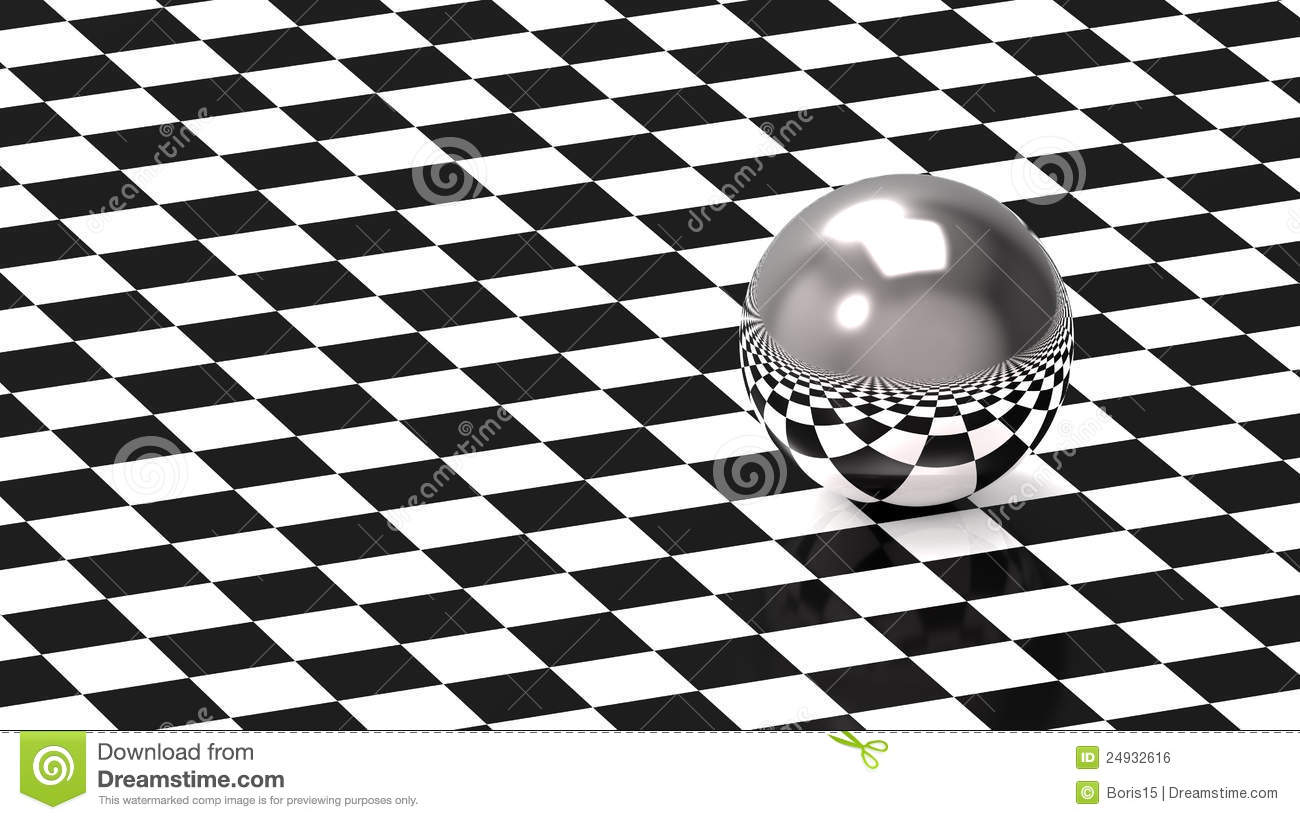 Sphere On Chess Pattern Stock Illustration. Image Of