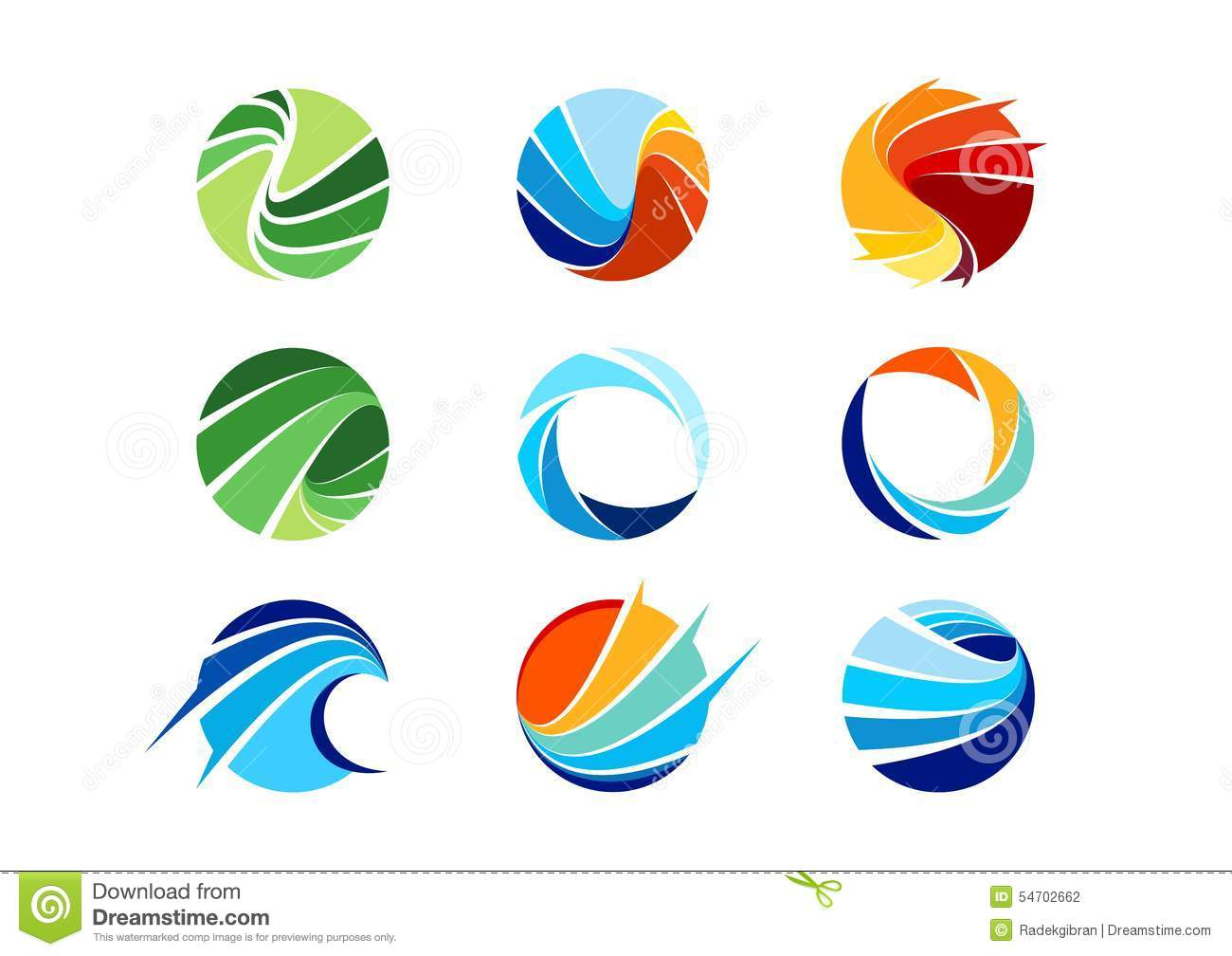 sphere, circle, logo, global, abstract, business, company, corporation, infinity, Set of round icon symbol vector design