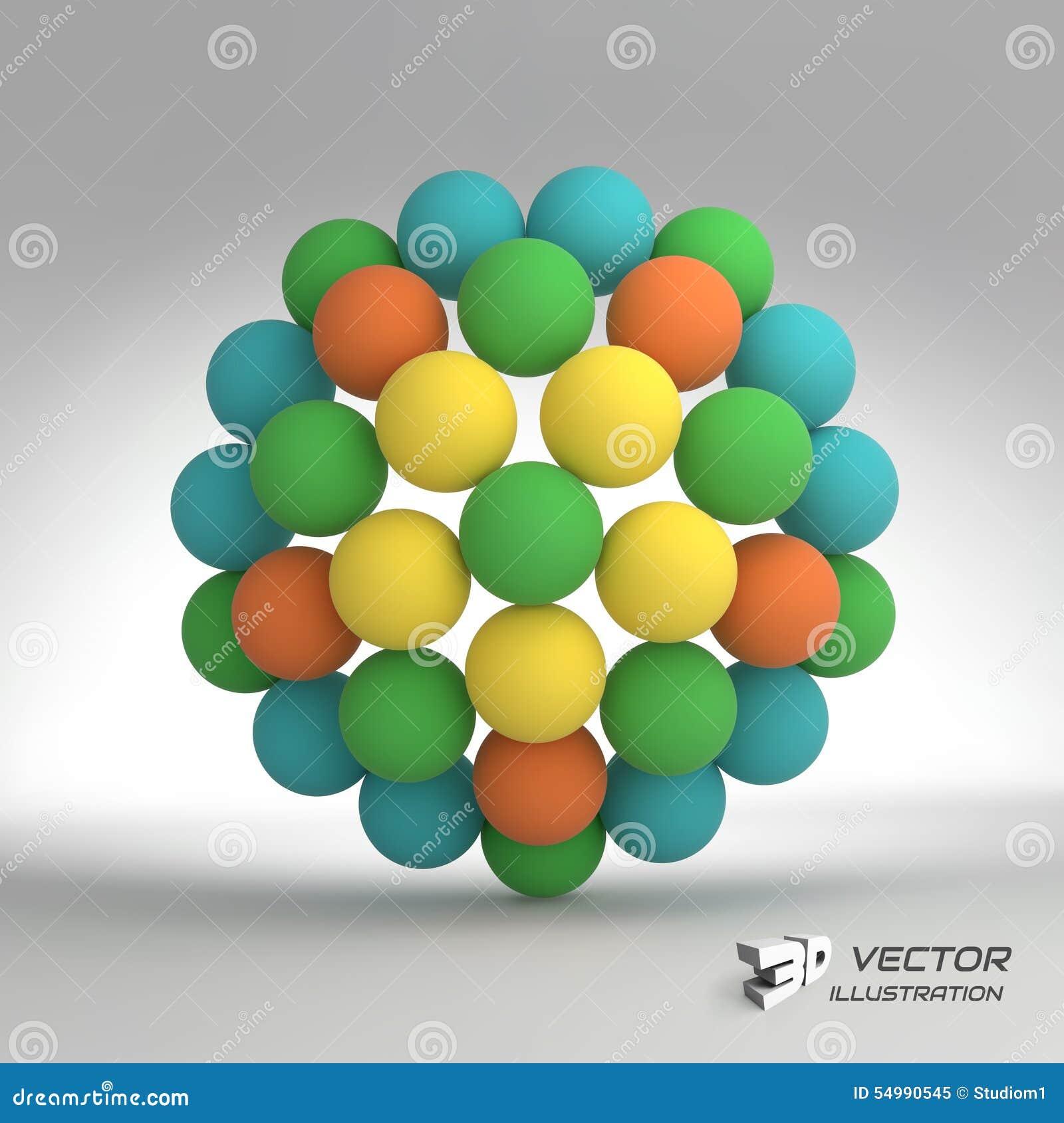 Sphere mall för vektor 3d abstrakt illustration