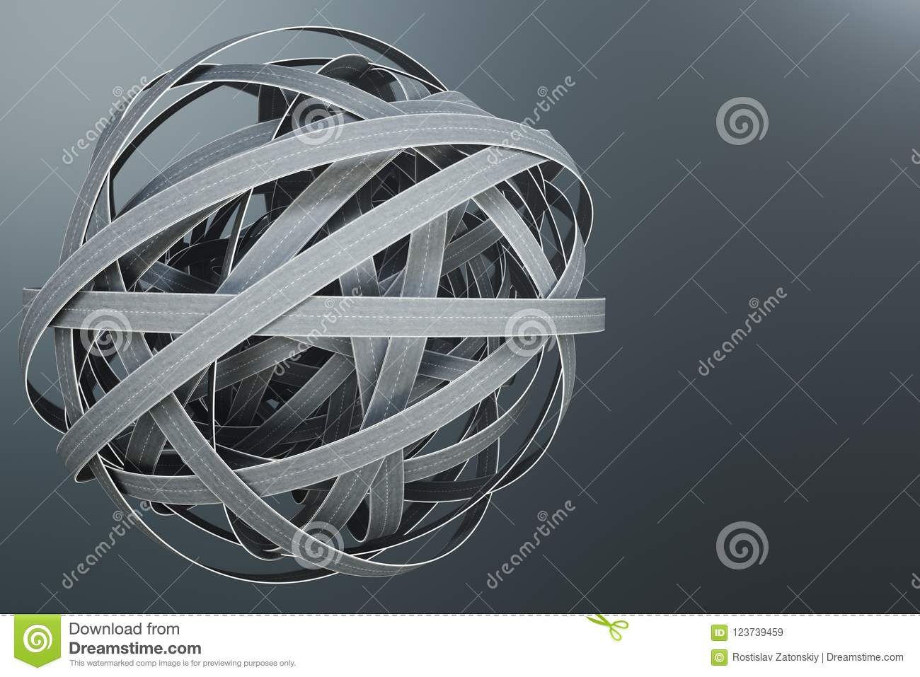Sphere of tangled roads, on grey background. Abstract road knot. Concept travel, transportation. 3D illustration