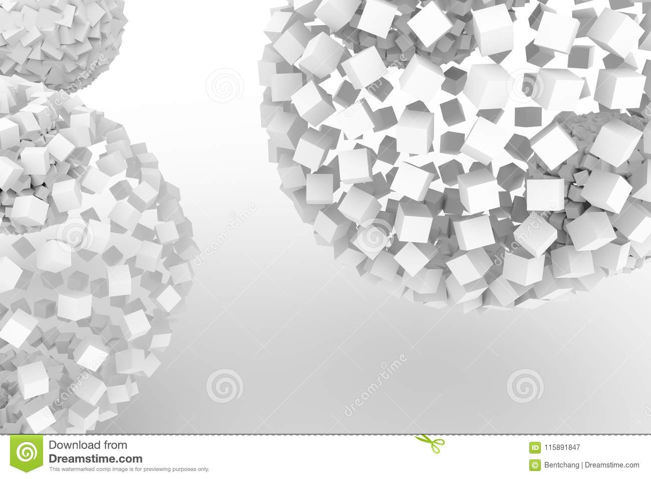 Spheres From Squares Modern Style Soft White Gray Background Artwork Perspectives