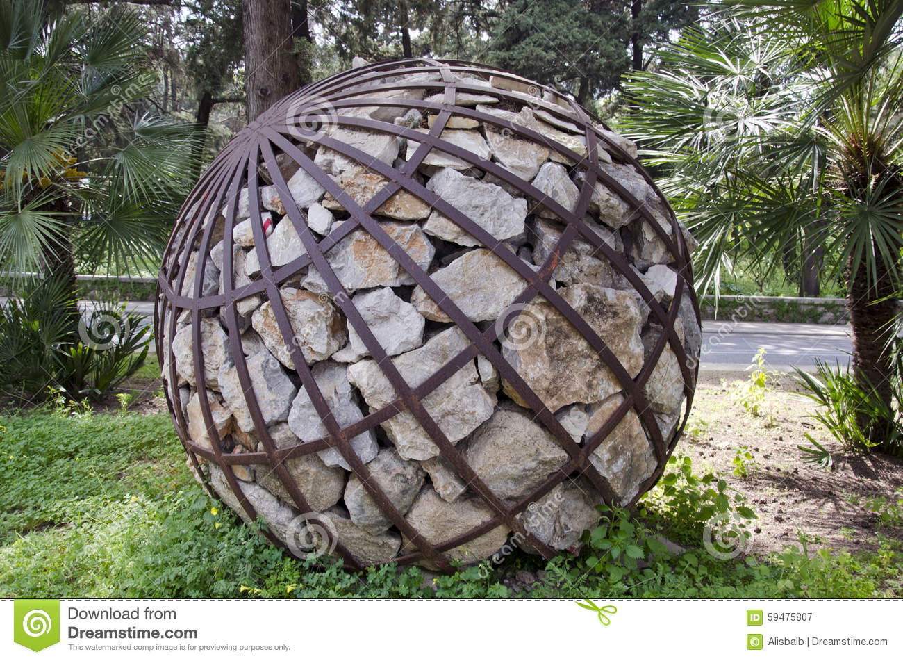 Decorative Stone Art : Spherical decorative stone sculpture in rhodes stock photo