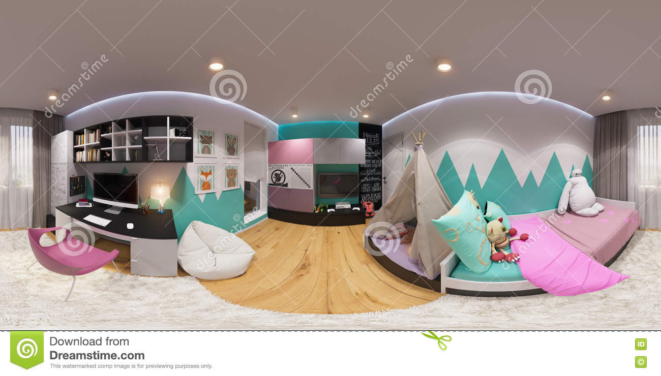 Spherical 360 degrees seamless panorama bedroom stock for Room design 360