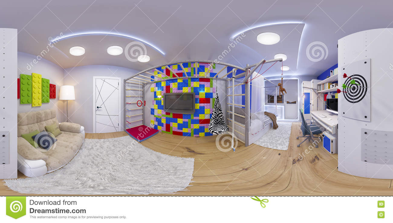 Spherical 360 seamless panorama of children s room stock for Room design 360