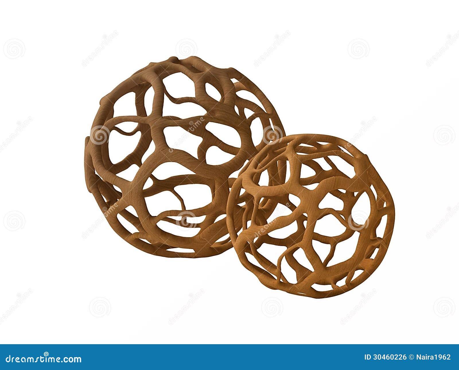 Spherical Wooden Objects For Interior Design Stock Illustration