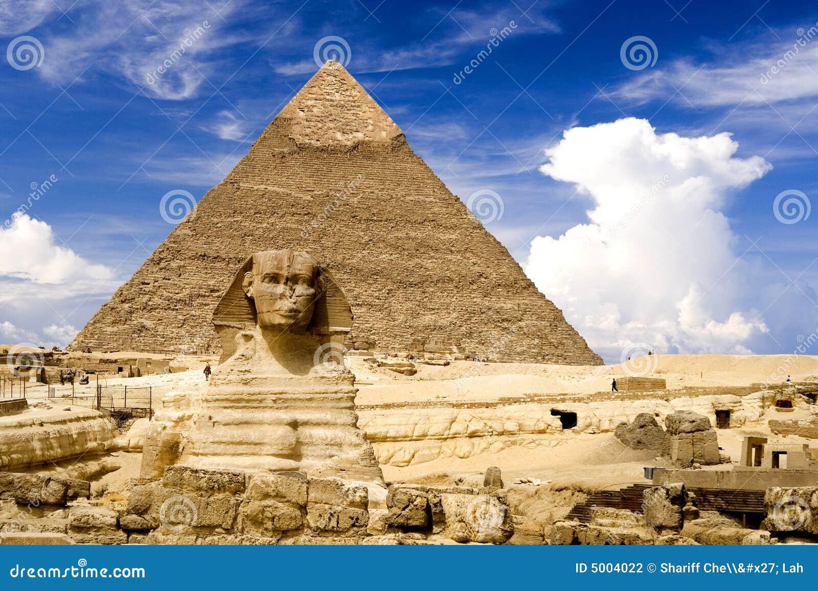 Sphinx e piramide egiziani