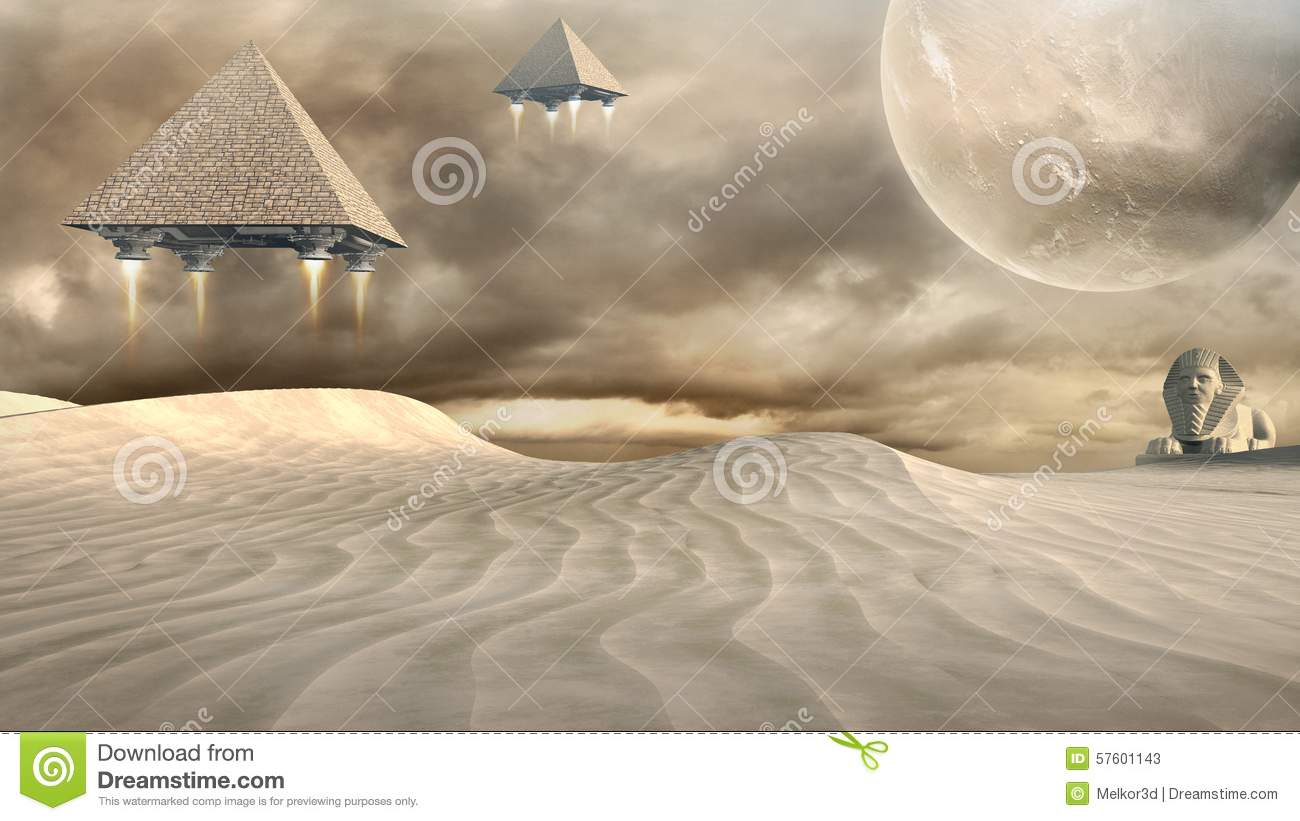 Sphinx and flying pyramids stock illustration  Illustration of